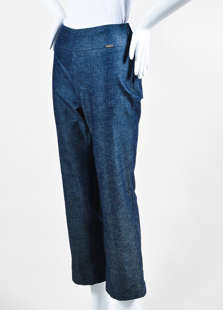 Chanel Blue Denim Wide Leg Trousers Sideview
