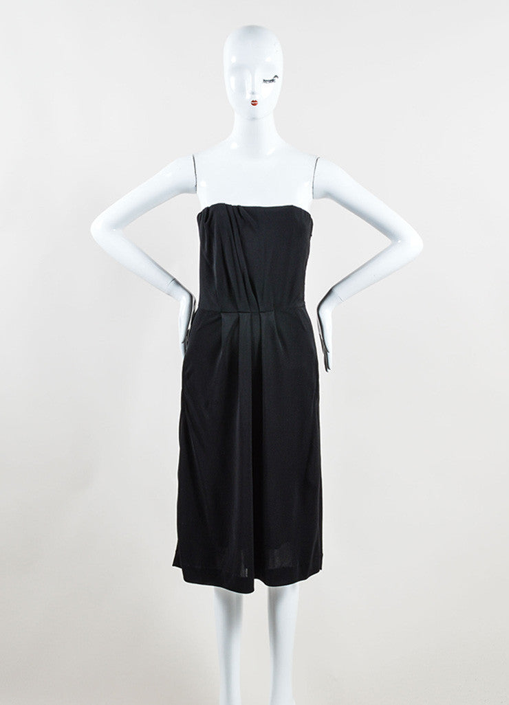 Chanel Black Jersey Pleated Corset Strapless Dress Frontview