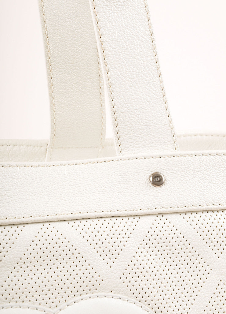"Chanel Off-White Perforated Leather ""CC"" Patch Tote Bag Detail 2"