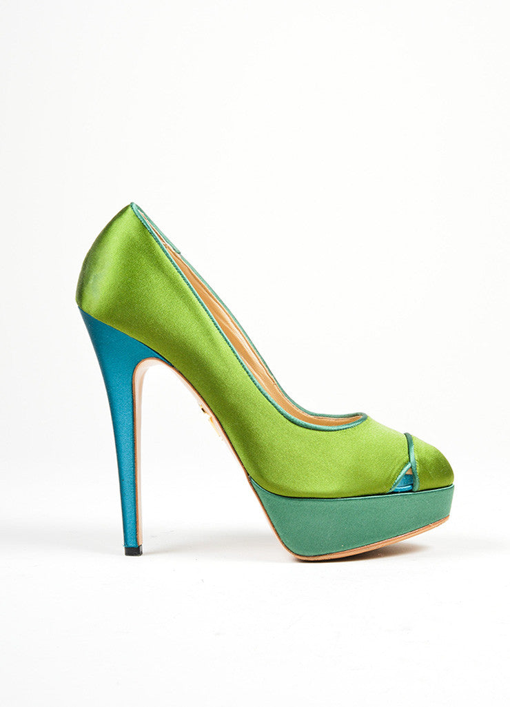 "Green and Teal Charlotte Olympia Satin ""Lais"" High Heel Platform Pumps Sideview"
