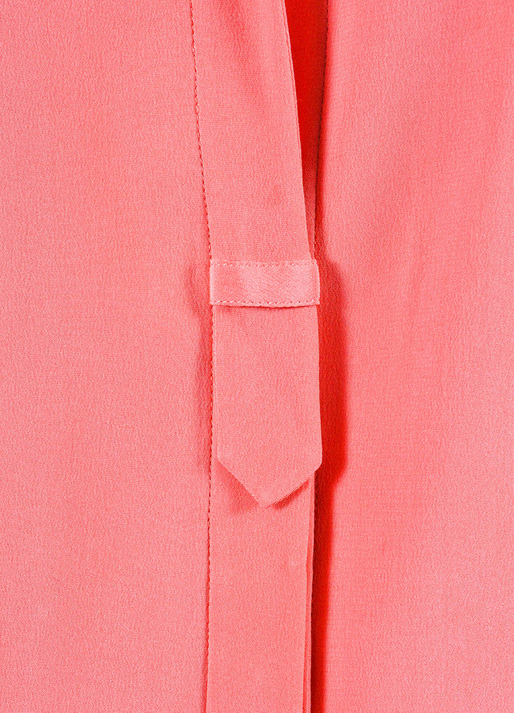 Chloe Pink Silk Chiffon Sheer Panel Button Up Long Sleeve Blouse Detail