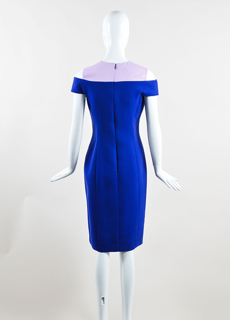 Christian Dior Blue and Pink Off Shoulder Crepe Wool Sheath Dress Backview