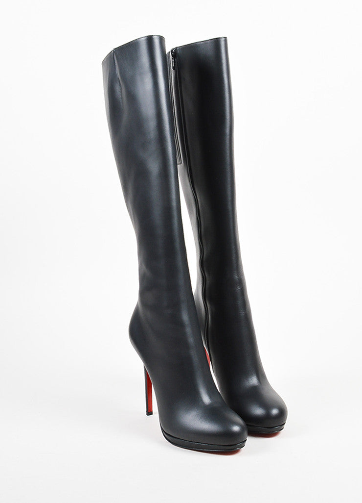 "Black Leather Christian Louboutin ""New Simple Botta"" Tall Heel Boots Frontview"