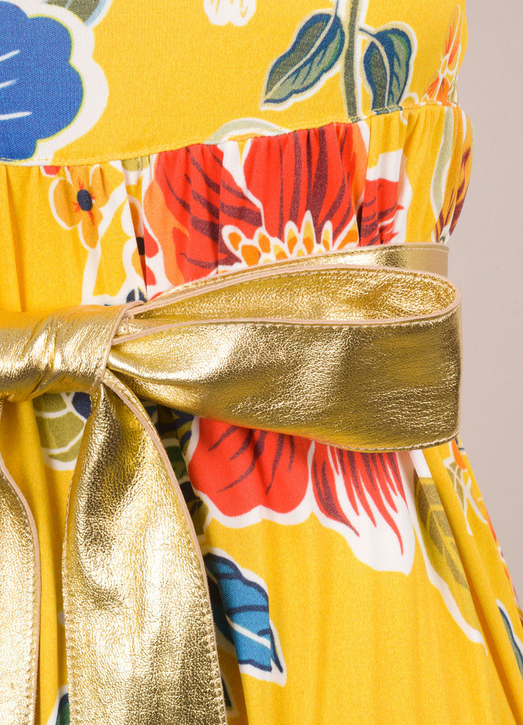 Dolce & Gabbana Yellow, Blue, and Red Floral Print Belted Maxi Dress Detail