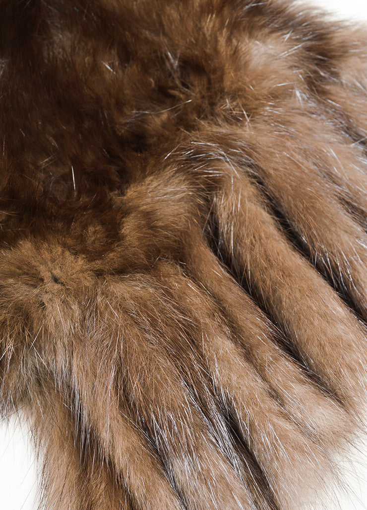 Brown David Goodman Fur Fringe Trimmed Scarf With Pockets Detail
