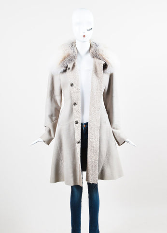 Light Grey Dennis Basso Suede Fox Fur Trim Stitched Snap Front Coat Frontview