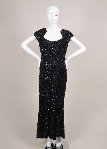Elie Saab Black Silk Blend Lace Applique Sequin Embellished Full Length Gown Frontview