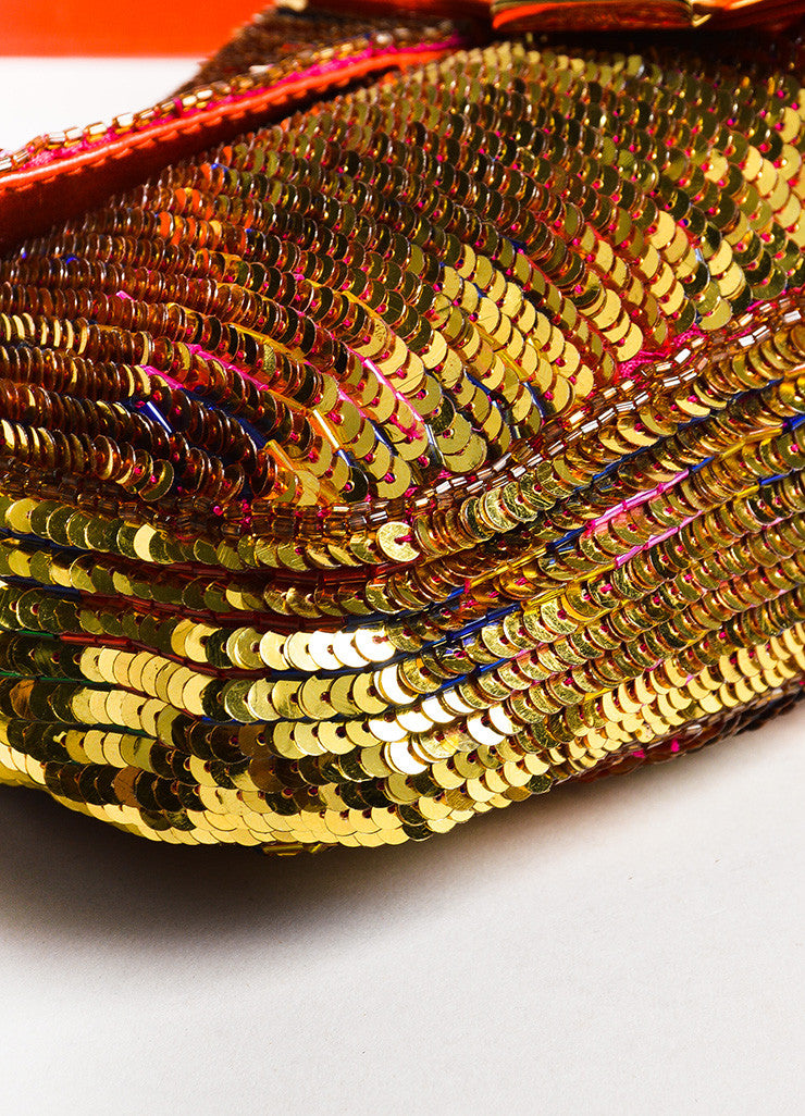 "Fendi Red Gold Tone Leather Sequined Beaded ""Baguette"" Bag Detail 2"