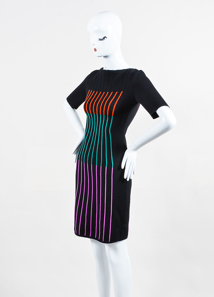 Black and Multicolor Fendi Wool Blend Knit Striped Short Sleeve Sheath Dress Sideview