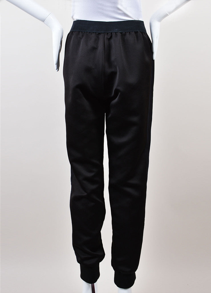 Giambattista Valli Black Ribbed Velvet Contrast Jogger Pants backview
