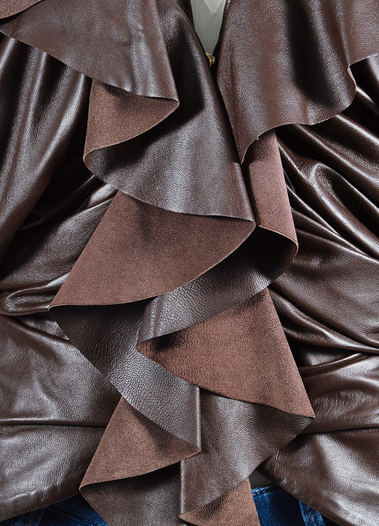 Brown Givenchy Leather Ruffle Short Sleeve Jacket  Detail