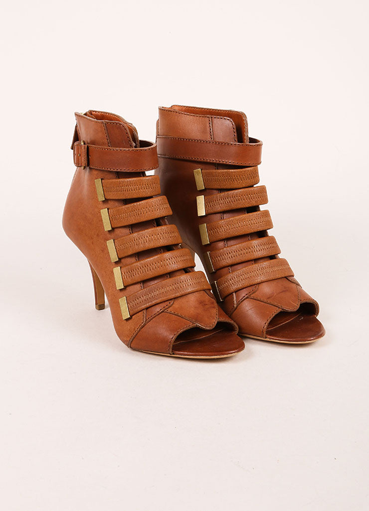 Givenchy Brown Leather Strappy Open Toe Booties Frontview