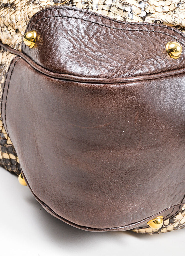 Brown and Cream Gucci Python Leather Large Horsebit Hobo Bag Detail