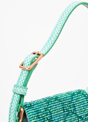 Gucci Green Beaded Lizard 'GG' Mini Flap Handbag Detail 3