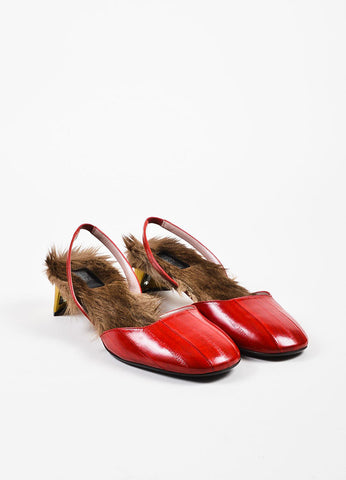 "Red Gucci Eel & Kangaroo Fur Slingback ""Arielle"" Pumps Front"