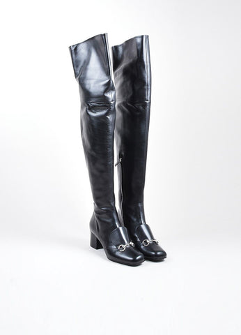 "Black and Silver Toned Gucci Leather ""Charlotte 55mm"" Knee High Boots Frontview"