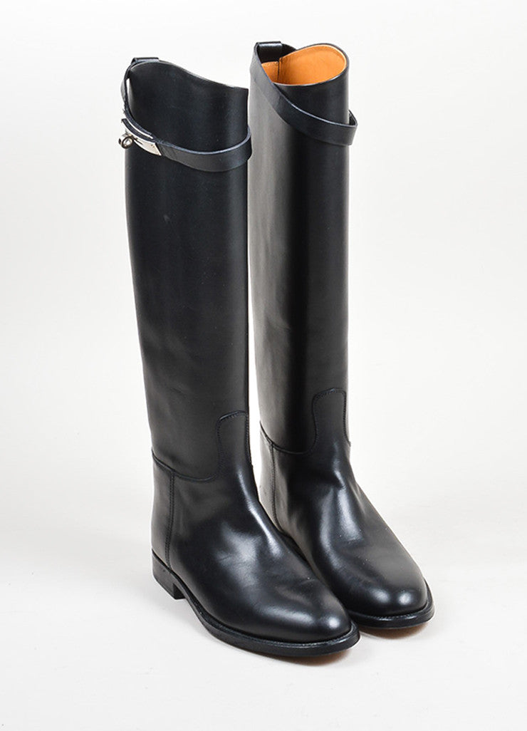 "Black Leather Hermes ""Jumping"" Tall Riding Boots  Frontview"