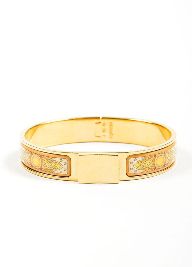 "Gold Toned and Yellow Hermes Printed Enamel ""Loquet"" Hinge Bangle Bracelet Frontview"