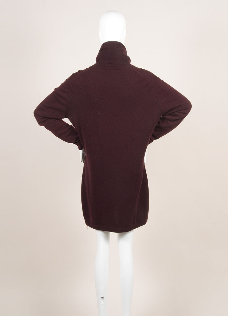 Hermes Maroon Cashmere Knit Turtleneck Tunic Sweater Dress Backview