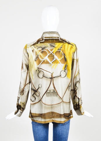 Multicolor Hermes Silk Equestrian Theme Button Up Blouse Backview
