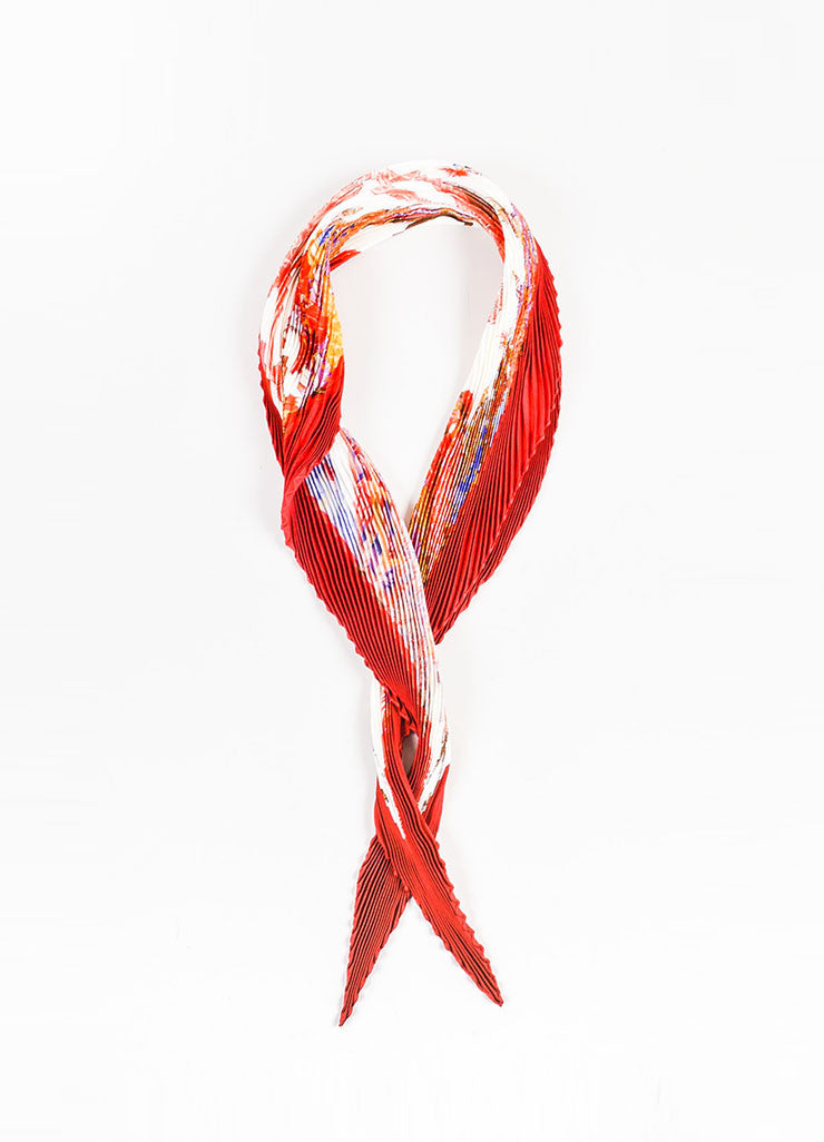 "Red & Cream Hermes Silk ""Turqueries en l'Honneur de Mr T"" Scarf Front"
