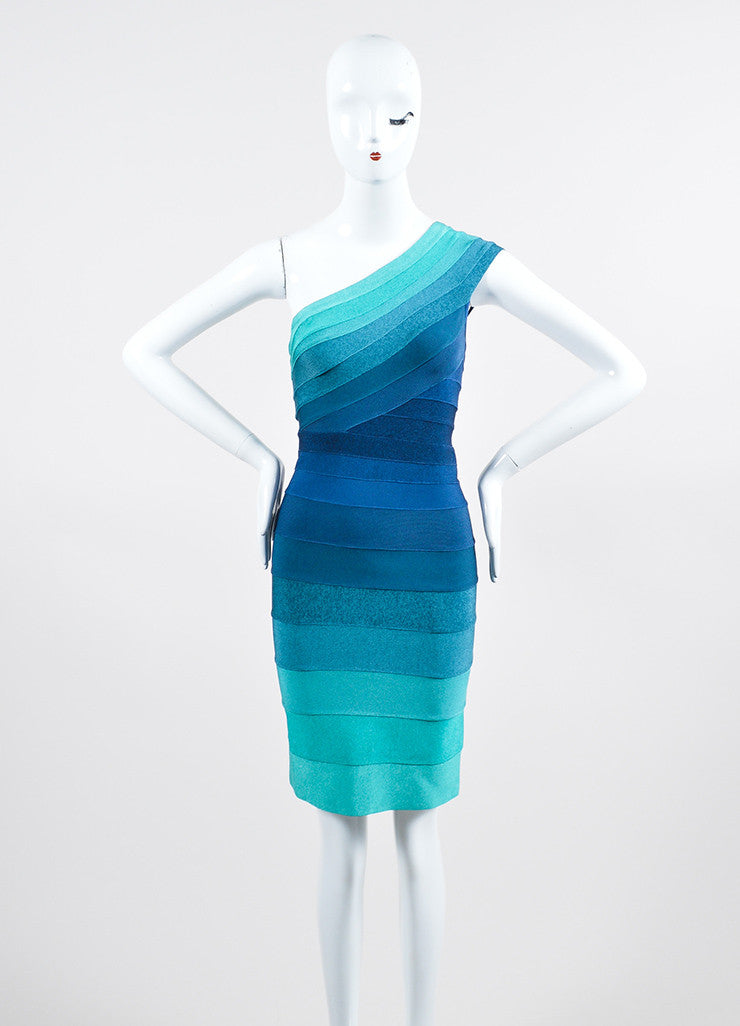 "Blue and Green Herve Leger One Shoulder Striped Bandage Bodycon ""Eliana"" Dress Frontview"