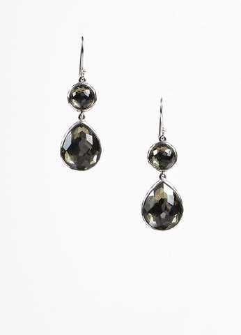 "Ippolita ""Rock Candy"" Sterling Silver and Hematite ""Snowman Doublet"" Earrings Frontview"