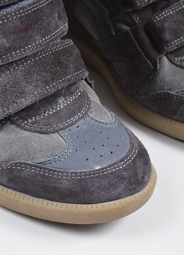 "Isabel Marant Charcoal Grey Suede Padded ""Bekett"" Wedge Sneakers Detail"