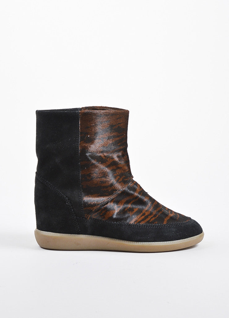 Isabel Marant Black Brown Suede Pony Hair Tiger Print Wedge Ankle Booties Sideview
