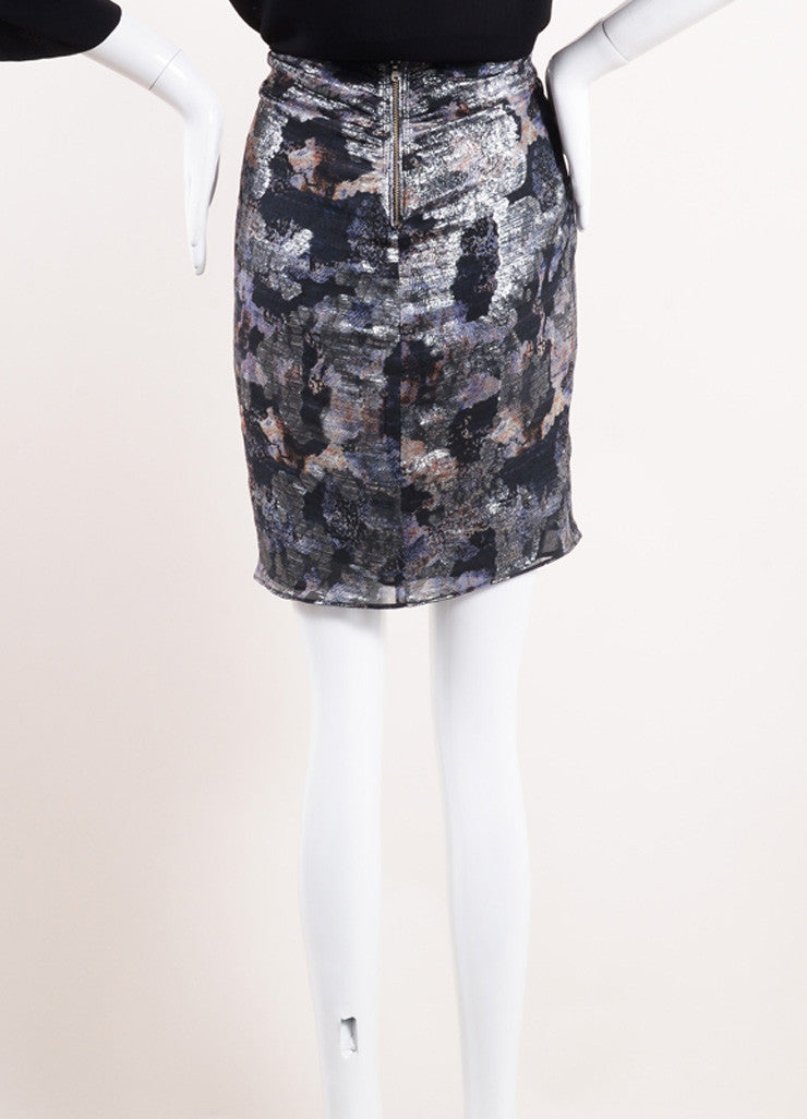 "Isabel Marant Black and Silver Floral Print Ruched ""Georgette"" Skirt Backview"