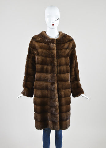 Brown Fur J. Mendel Tiered Snap Front Long Sleeve Coat