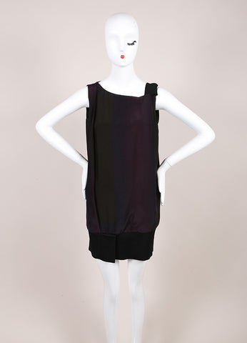 Jil Sander Purple Green Silk Elastic Sleeveless Tunic Top SZ 34 Frontview