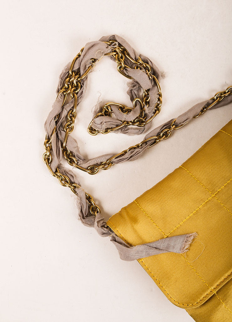 "Lanvin Chartreuse ""Happy Popla"" Quilted Satin Clutch Bag Detail 2"
