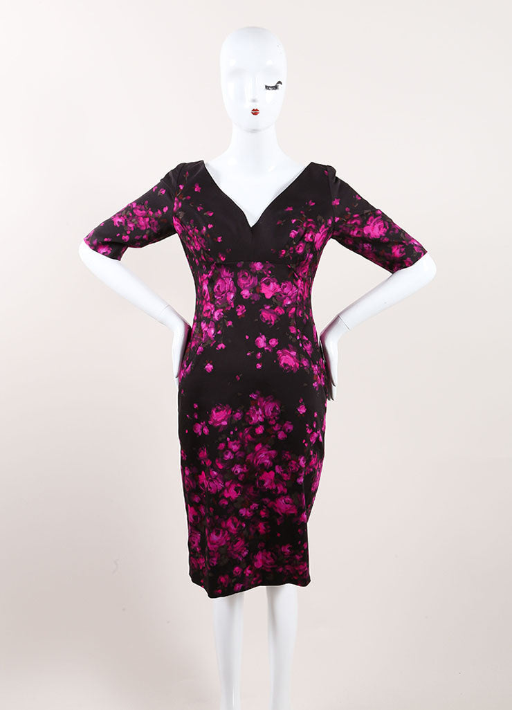 Lela Rose New With Tags Black and Pink Floral Print Crop Sleeve Sheath Dress Frontview