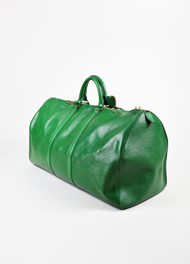 "Louis Vuitton Borneo Green Epi Leather ""Keepall 55"" Travel Duffel Bag Sideview"
