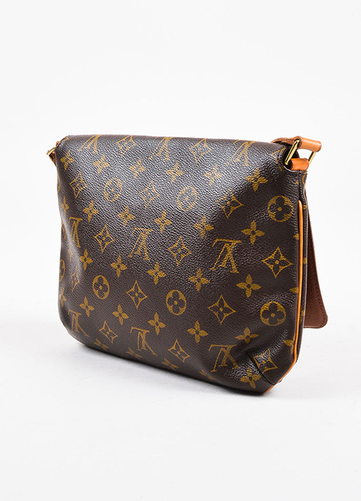 "Louis Vuitton Brown and Tan Coated Canvas Leather Monogram ""Musette Tango"" Bag Sideview"