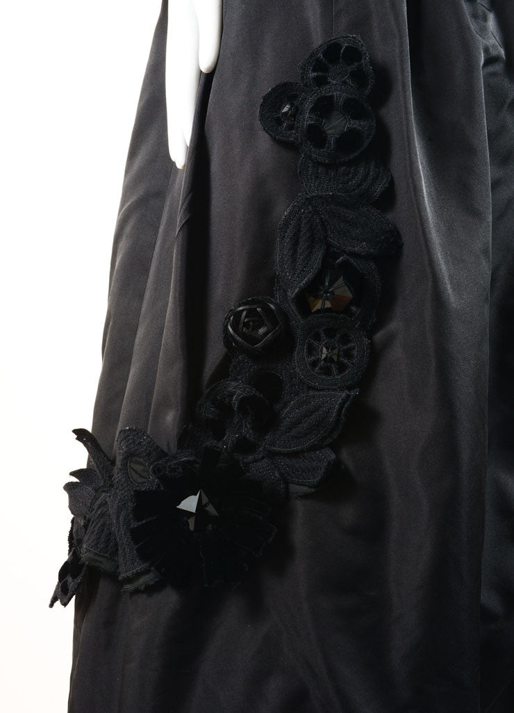 Louis Vuitton New With Tags Black Silk and Velvet Sleeveless Floral Applique Dress Detail