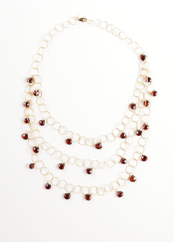 Mabe Gold Filled Rings Garnet Drops Layered Delicate Necklace Frontview