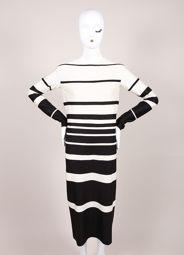 Marc Jacobs Cream and Black Silk Knit Stripe Long Sleeve Midi Dress Frontview