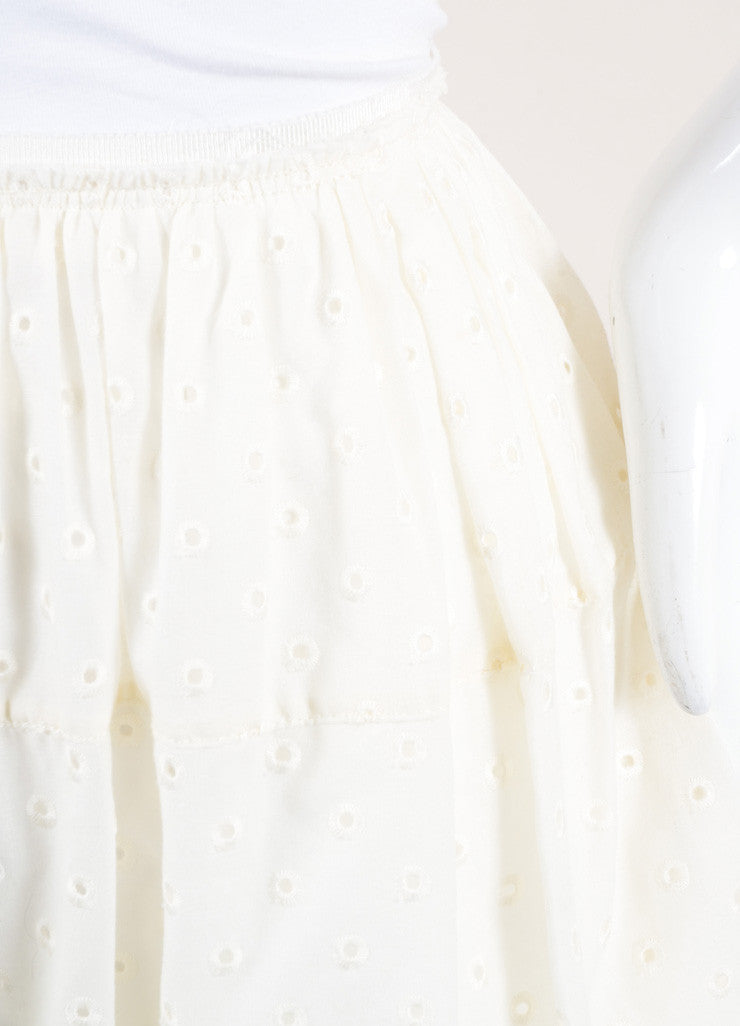 Marc Jacobs New With Tags Cream Cotton Eyelet Knee Length Yoked Skirt Detail
