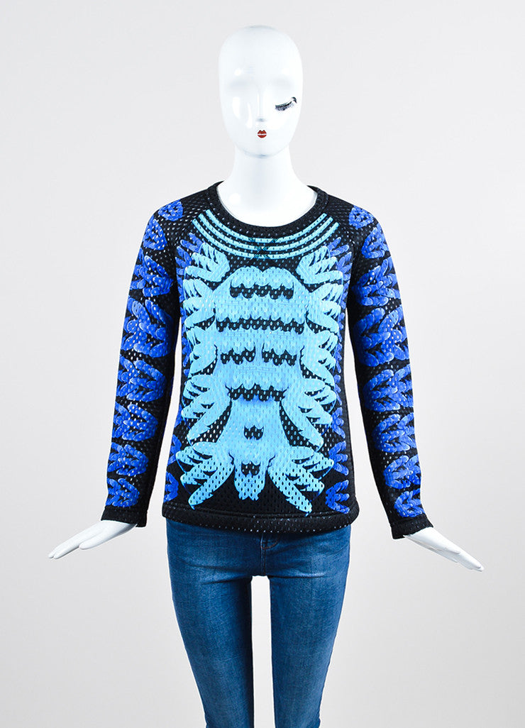 "Black and Blue Perforated Mary Katrantzou x Adidas ""Monster Marathon"" Long Sleeve Top Frontview"