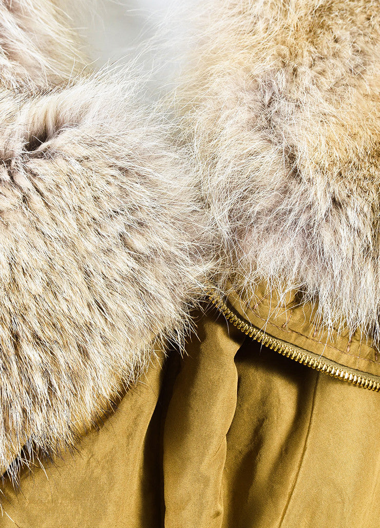 "Michael Kors ""Barley"" Tan Silk Coyote Fur Collar Trim Down Parka Coat Detail"
