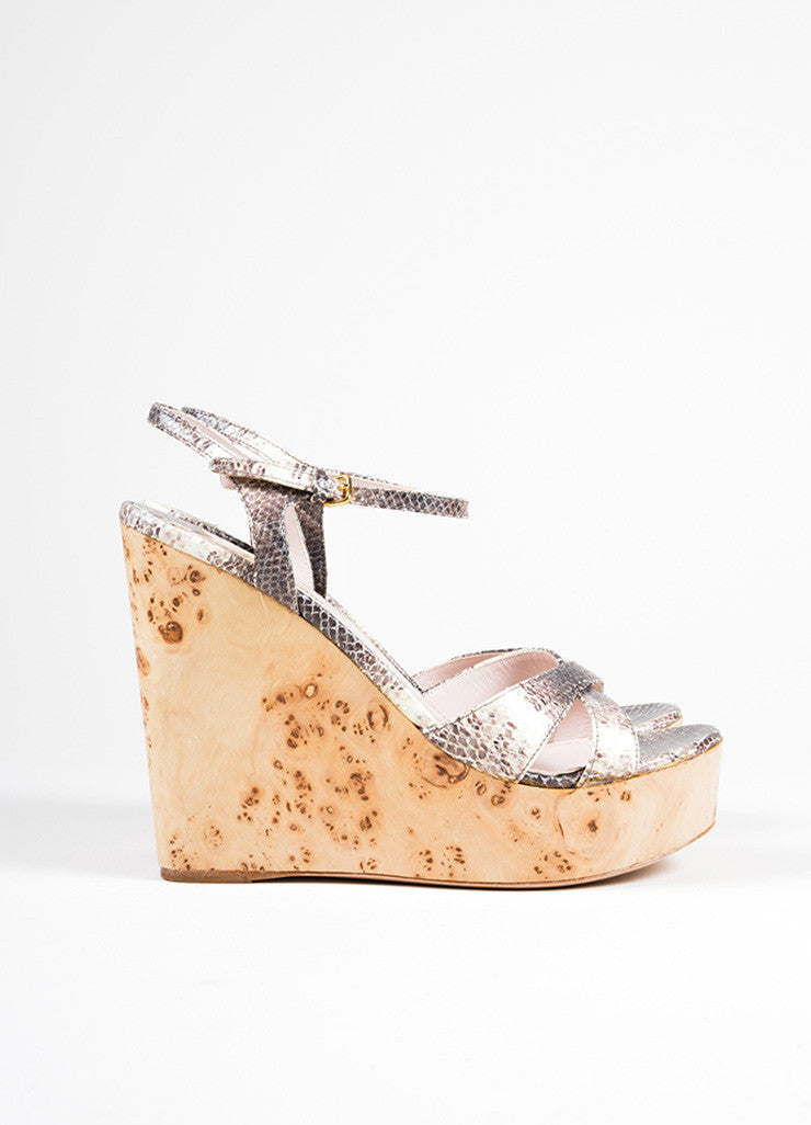 Miu Miu Cream and Brown Leather Wooden Wedge Sandals Side