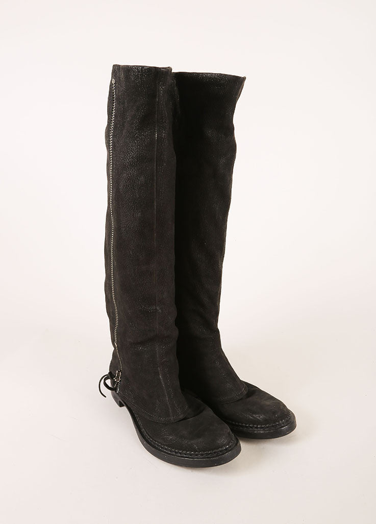 Miu Miu Black Leather Zippered Layered Shaft Knee High Boots Frontview
