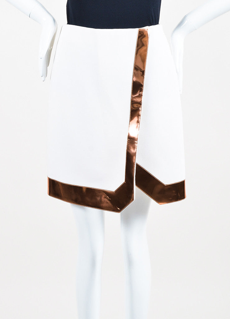 Mugler White Copper Trim Wool Crepe Wrap Skirt Frontview