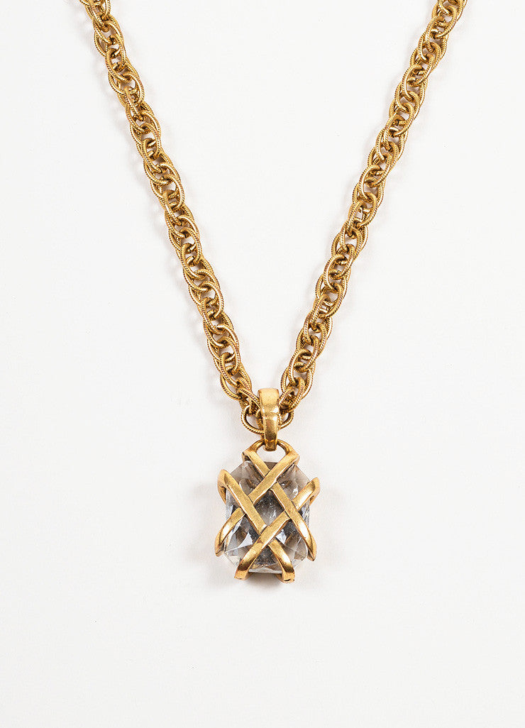 Antiqued Gold Toned Oscar de la Renta Rhinestone Gem Caged Pendant Necklace Detail