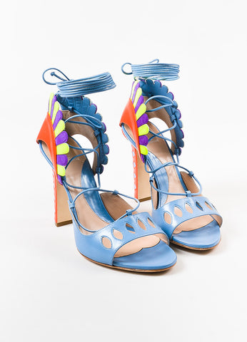 "Paula Cademartori Blue and Pink Leather Suede ""Lotus"" Sandals Frontview"