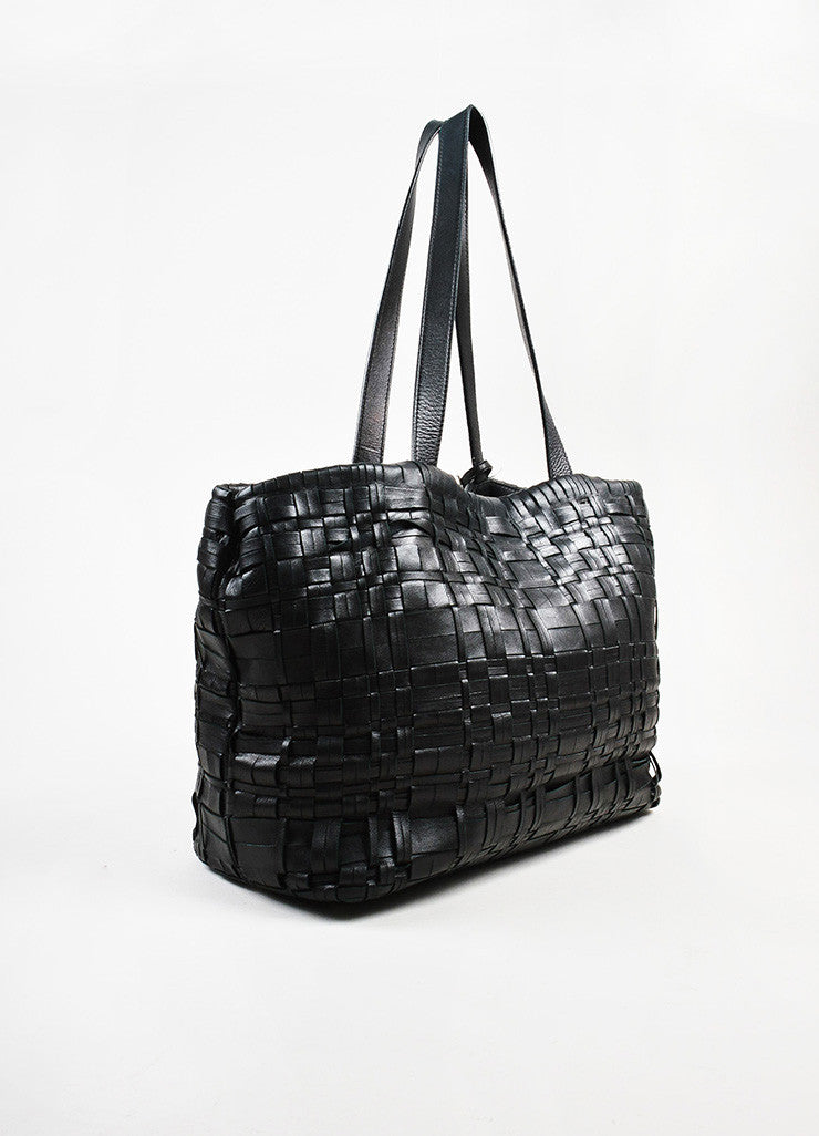 Prada Black Nappa Leather Woven Shopper Tote Bag Sideview