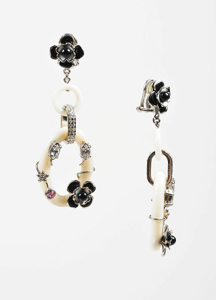 White Resin, Enamel, and Crystal Prada Link Clip On Drop Earrings Sideview