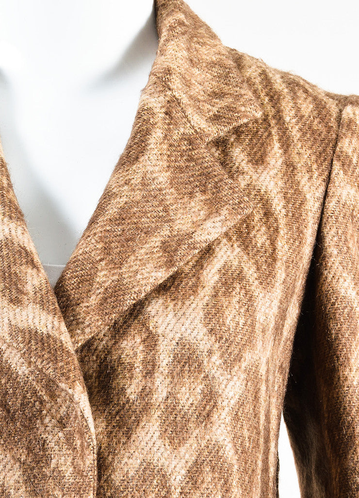 Prada Brown and Cream Mohair and Wool Blend Animal Spotted and Pleated Coat Detail